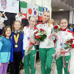 Diana and Chase with Silver Medalists Team Hungary, SLC Women Saber World Cup