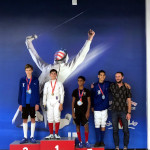 SAN DIEGO CUP, June 2019: Y14 Epee, LJFA Epee Medalists with Coach Sergey